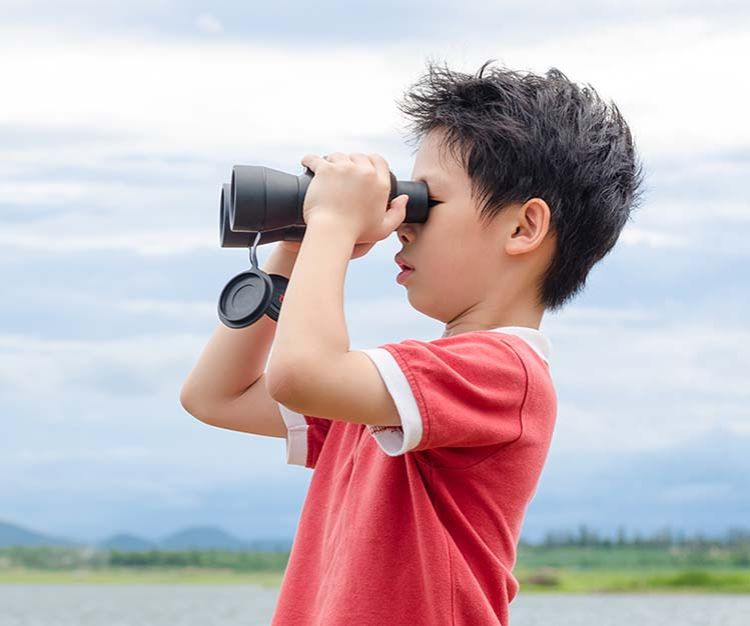 Boy in a field looking through binoculars